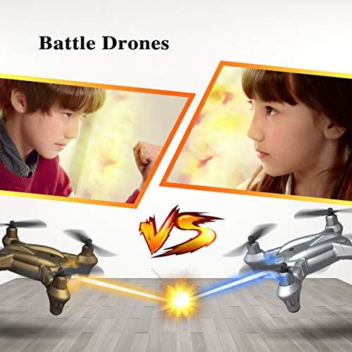 Lefant Mini Battle Drones for Kids Small Nano Quadcopters Fighting RC Toy Drones with Infrared Emission, Altitude Hold, 3D Flips, 2.4GHz Remote Control, High/Low Speed-Pack of 2