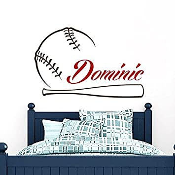 Baseball Name Wall Decal Boy Custom Personalized Boys Decor Vinyl Kids Teens