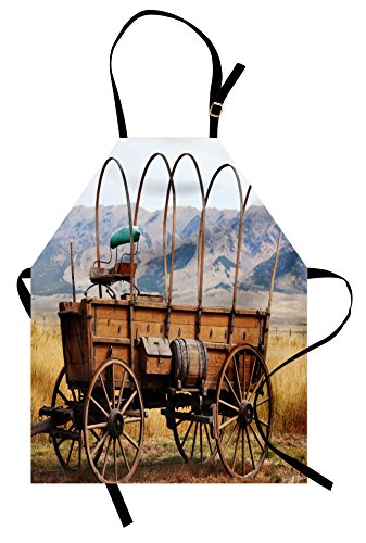 (Ambesonne Western Apron, Photo of Old Nostalgic Wild West American Cart Carriage in The Farm Texas Style, Unisex Kitchen Bib Apron with Adjustable Neck for Cooking Baking Gardening, Brown Yellow)