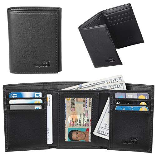 er Trifold Wallets for Men Handmade Slim Mens Wallet 6 Credit Card ID Window(napa black) ()