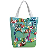 Canvas Shopping bag,shoulder handbags,Shoulder Bag,Board Game,Swirled Snakes and Ladders Start and Finishing Line Clouds Crown Winner Childish Decorative,Multicolor,Unique Durable Canvas Tote Bag