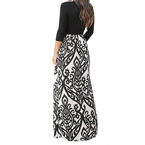 Haute fminine Cross Romantique Beige Longues Imprimer Longue Jimma Bohme Mode Taille Robe Manches Robe Longues Mesdames Robe Manches w8IO8q1