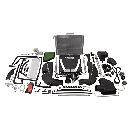 Edelbrock 1562 E-Force Stage-1 Street Systems Supercharger 2300 TVS 421RW HP/439RW TQ Incl. Supercharger/Manifold/3.875 in. 6 Rib Drive Pulleys/102/106.5 in. Belt Low Profile Top E-Force Stage-1 Street Systems Supercharger
