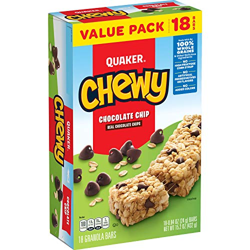 Quaker Chewy Granola Bars, Chocolate Chip, (18 Pack)