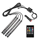 Minger Car Music Light, 4pcs DC 12V Multi-color Car Interior Light LED Underdash Lighting Kit with Sound Active Function and Wireless Remote Control,Car Charger Included