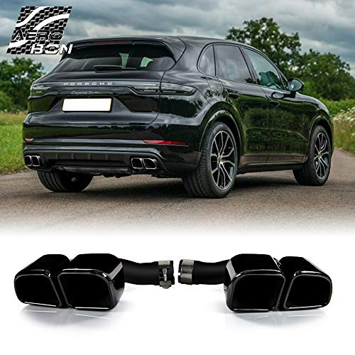 Turbo-Look Exhaust Muffler Tips Upgrade for Cayenne 2018-2020 MK3 PO536 Models, Square Type (Glossy Black)