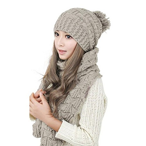 Pixnor Womens Winter Knitted Scarf and Hat Set Thicken Skullcaps