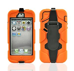 LiViTech(TM) Defender Military Survivor Duty Series Case & Holster for Apple iPhone 5 5s (Orange Black)