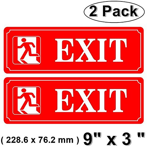 "Outdoor/Indoor (2 Pack) 9"" X 3"" EXIT Door Sign Red & White Sticker Decal - For Business Store, Shop, Cafe, Office, Restaurant - Back Self Adhesive Vinyl"