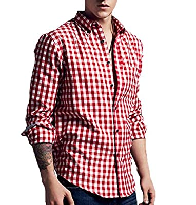 Generic Men Button Down Plaid Relaxed-Fit Cotton Dress Shirt