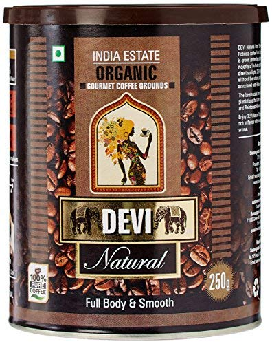Natural Organic Coffee Grounds - Indian Coffee 250g (8.81 OZ) -  DEVI, Devi-03