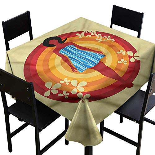 haommhome Square Tablecloth Youth Woman Blue Dress Circles Soft and Smooth Surface W36 xL36 for Kitchen Dinning Tabletop Decoration
