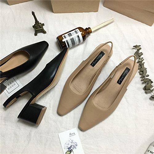 después punta sandalias cabezal zapatos de la de vacía zapatos humedad con la boquilla grueso el luz talón retro alto Baotou tacón la del hembra Los alto Beige con de dXx7q6wX1