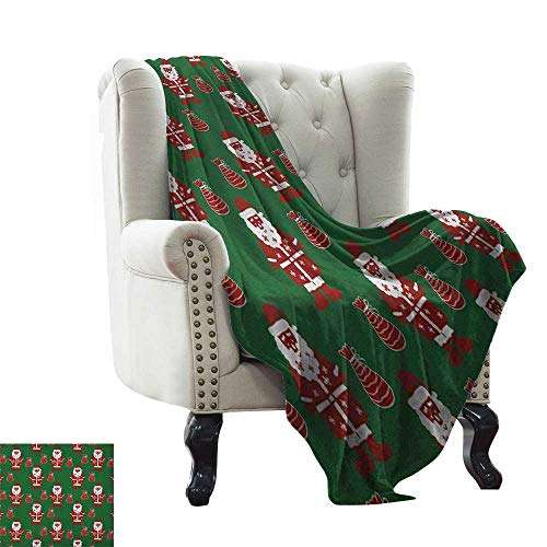 (Geometric, Custom Design Cozy Flannel Blanket, Santa Claus Holding Present Bag on Vibrant Background Happiness Festive, Lightweight Blanket Extra Big, (W90 x L90 Inch Green Ruby White)
