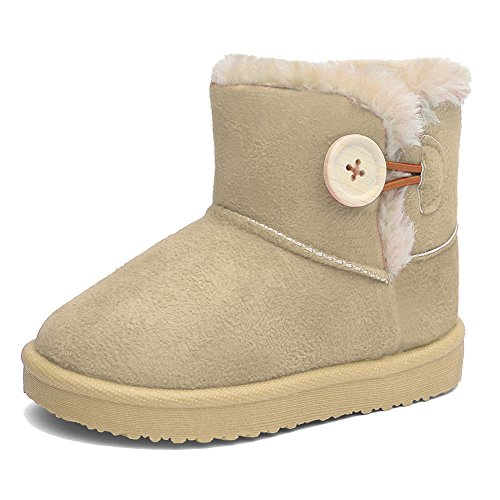 CIOR Girl's and Boys Winter Snow Boots Fur Outdoor Slip-on Boots (Toddler/Little Kids).Beige.13 (Children's Winter Boots')