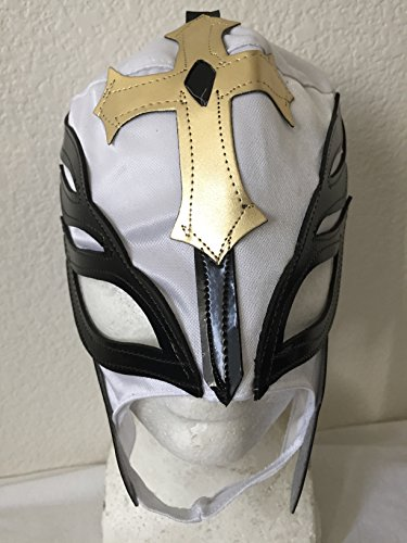 [REY MYSTERIO white w/ gold n black WRESTLING MASK NACHO LIBRE MASK] (Childrens Nacho Libre Costume)