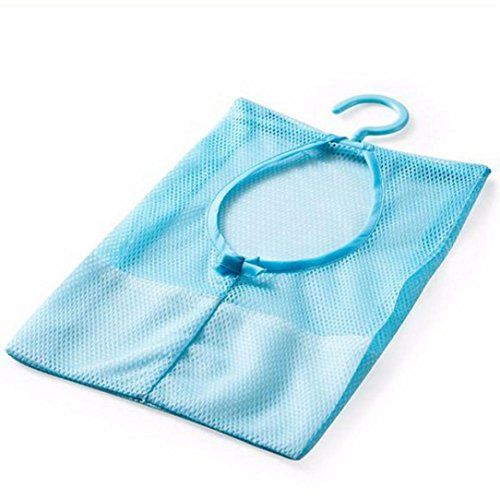 Coerni Quick Dry Hanging Shower Bag and Bath Organizer, Hang on Shower Curtain Rod / Liner Hooks, Mesh Shower Caddy, Save Space in Small Bathroom Tub with 3 hooks on SALE (Blue)
