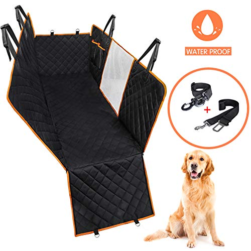 Dog Car Seat Cover for Back Seat, Waterproof Dog Hammock Scratchproof Pet Seat Covers with Mesh Visual Window Side Flaps & 2 Dog Seat Belts, Washable Nonslip Seat Protector for Cars Trucks and SUVs