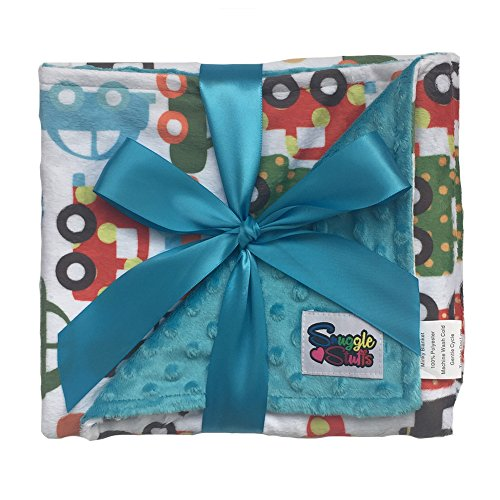 Boys Reversible Minky Dot Stroller Blanket Turquoise Cars & Trucks