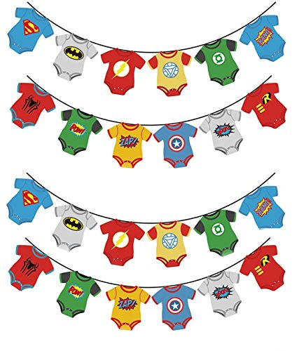 TWO Pack Superhero Baby Shower Bunting Banner Party Supplies- Marvel Avengers DC Comic Inspired Justice League Decoration For 1st Birthday -