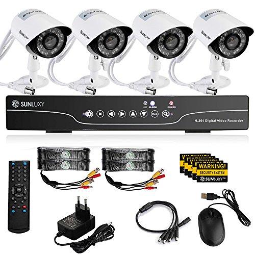 SUNLUXY® 8CH 720P DVR AHD + 4x 1000TVL Cámara de Vigilancia IR Visión Nocturna Interior / Exterior CCTV Sistema de seguridad para Hogar: Amazon.es: ...