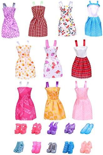 ゴシレ Gosear 10ピースエレガント人形夏のドレスガウン衣装服+ 10ペアの靴アクセサリー用バービーおもちゃ女の子誕生日祭りギフトランダムスタイル