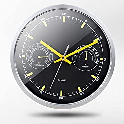 LE wall clock Metal/Quartz clock,Stainless Steel Wall Clock,Silent/with Thermometer and Hygrometer/Room Bedroom/Simple Creative Living Room