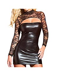 Susenstone Sexy Lace Hollow out Clubwear Dress Siamese Sexy Underwear