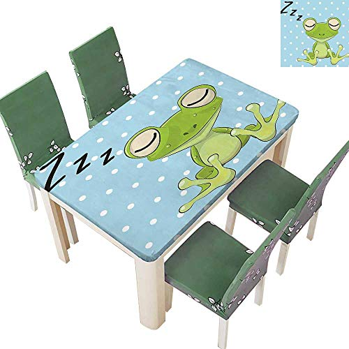 Spillproof Fabric Tablecloth Pr ce Frog Cap Dots Background Cute Animal World Kids Home Green Kitchen Washable 54 x 120 Inch (Elastic Edge)