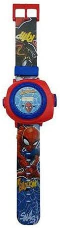 LEXIBOOK Reloj Correa Ajustable Pantalla Digital con 20 proyecciones de Spider-Man-para Niños-Rojo y Azul