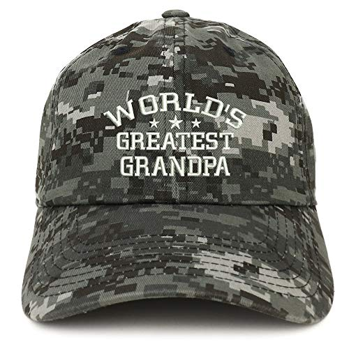 - Trendy Apparel Shop World's Greatest Grandpa Embroidered Low Profile Soft Cotton Baseball Cap - Digital Night CAMO