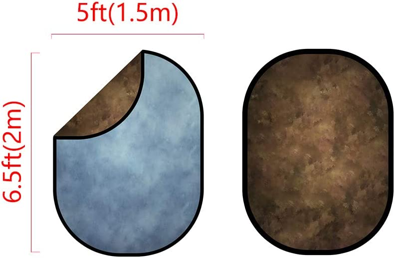Light Blue Collapsible Backgrounds Dark Brown Backdrop Double-sided Microfiber Flexible Frame Background Photography Carrying Case Included 1.5x2m Kate 5X6.5ft
