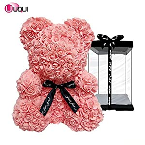 U UQUI Teddy Bear Rose Bear Artificial Rose Bear Cub, Forever Rose Everlasting Flower for Window Display, Anniversary Christmas Valentines Gift (16″, Pink)