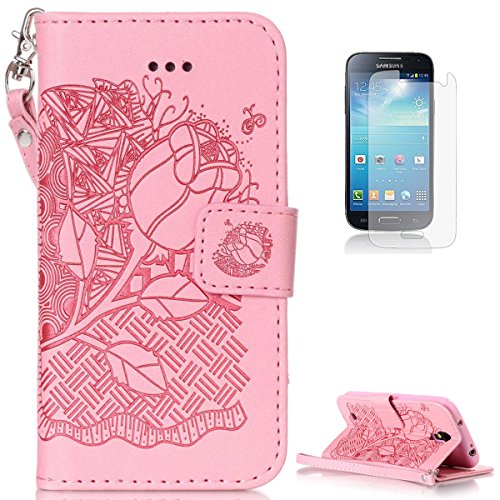 Samsung Galaxy S4 Mini i9190 Leather Wallet Case [with Free Screen Protector],KaseHom Rose Flower Butterfly Embossed Folio Magnetic Flip Stand PU Leather Protective Case Cover Skin Shell,Pink #4 (Owl Case Galaxy Samsung 4 Mini)