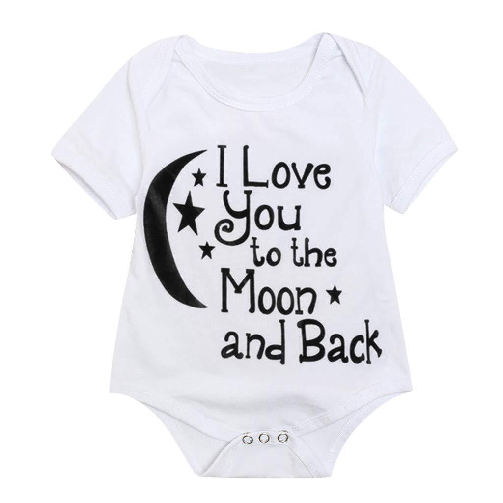 wanshop   /® Regali teneri Neonato Manica Corta Printed Neonato Tuta-I Love You To The Moon And Back