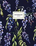 Wisteria Notebook: Purple Wisteria Flowers Notebook in Evening Blue, 8.5 x 11
