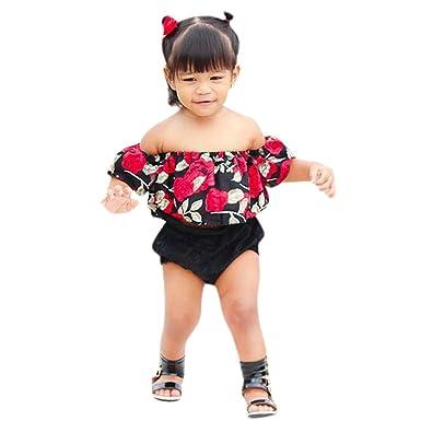 3e0ec5f6f12 Minisoya Toddler Infant Kids Baby Girls Short Sleeve Off Shoulder Floral Crop  Tops T-Shirt