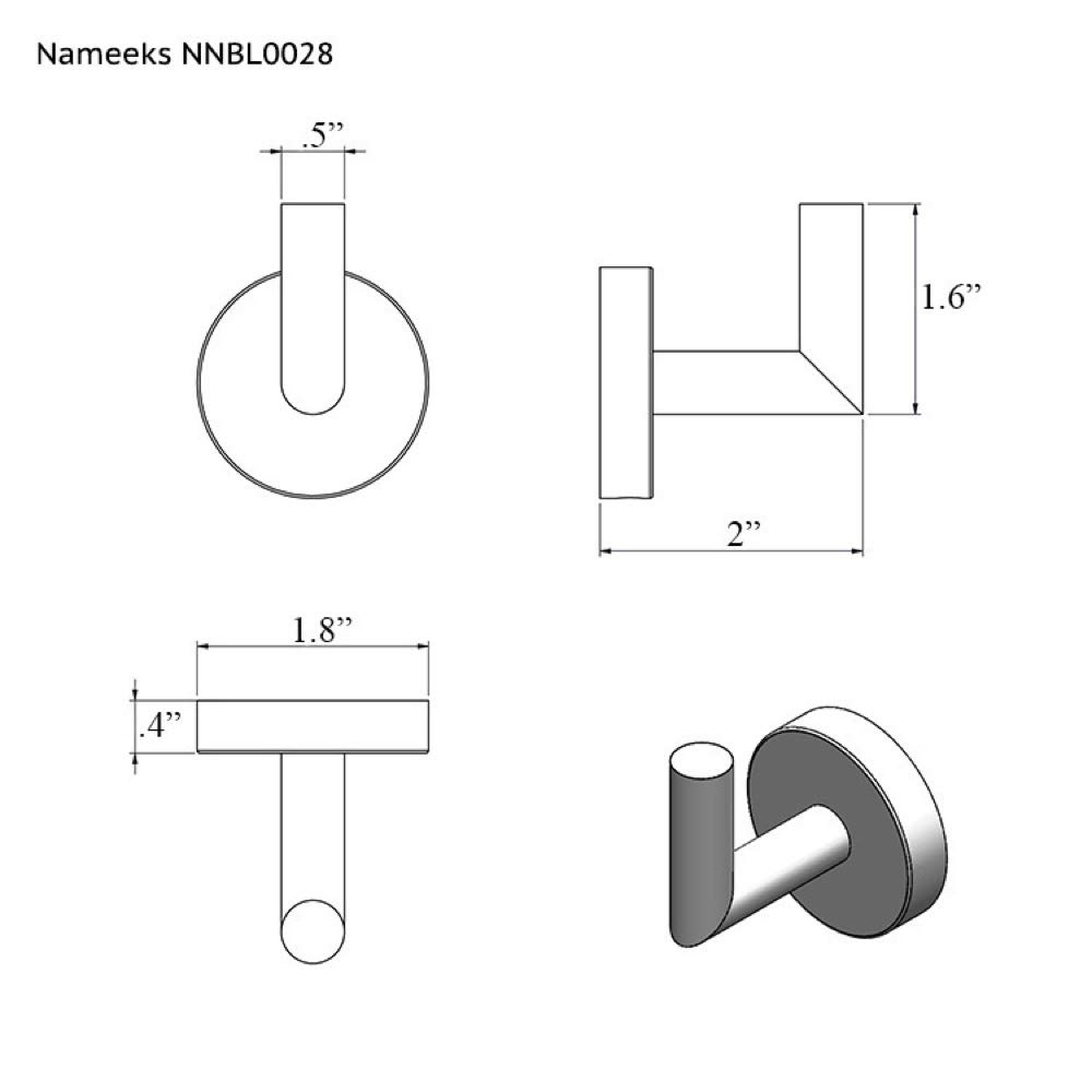 Nameeks NNBL0028 Luxury Hotel Matte Bathroom Hook, Black
