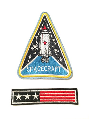 Cool space travel patches 2pc Spacecraft and USA flag sew on patch 4.5x3.5in Love space travel customize ur things Easy and quick , jeans jackets vest backpacks anywhere u like
