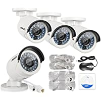 Annke 4-Packed 4.0 Megapixels HD PoE Security Bullet Cameras, 30m IR Range Night Vision with Auto IR-cut, IP66 Weatherproof Metal Hosuing