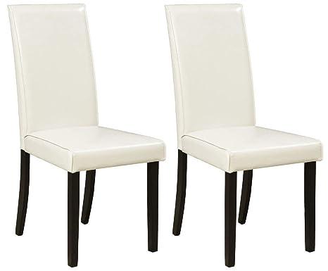 Amazon.com: Tapizado silla lateral en marfil – Conjunto de 2 ...