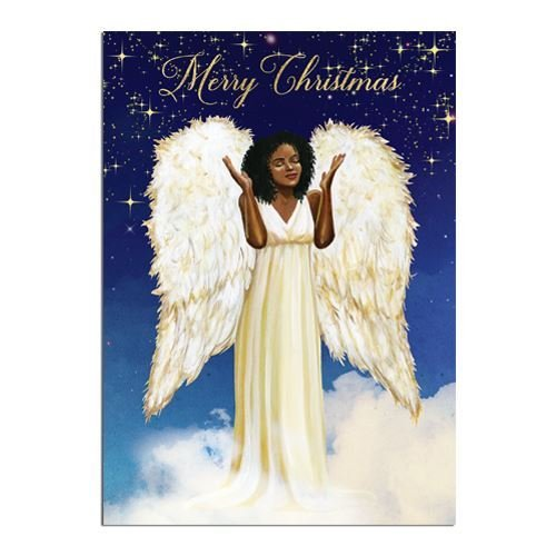 "Search : African American Expressions - Merry Christmas/ Angel Boxed Christmas Cards (15 cards, 5"" x 7"") C-928"