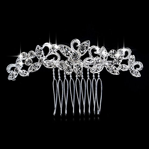 Crystal Simulated Elegant Wedding Bridal Hair Comb Flower Leaves Pearl Crystal Flower (Leaf Design Diamond)