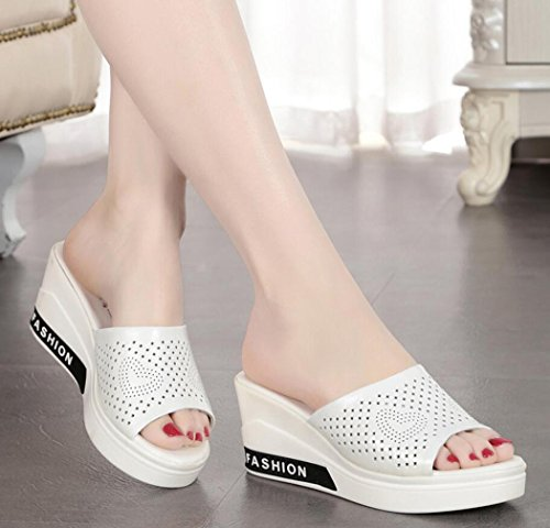 Chanclas Blanco Zapatillas Negras Piel caseros de y de Cremallera Mujer y en Verano Zapatillas Blancas DANDANJIE Comodidad para con Zapatos cuña qR4CwEfOB