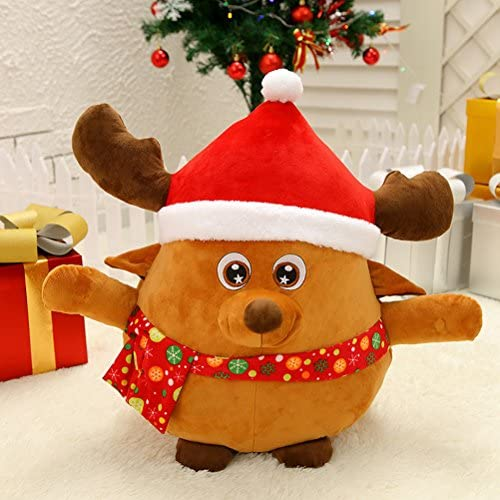 OULII Figurine Pere Noel Musical Peluche Lumineuse Coussin Noel Decoration de Noel 35cm