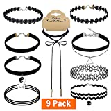 Outee 10 PCS Black Chokers Necklaces Set Cute Women Choker Set Tattoo Lace Chokers
