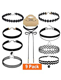 Outee 9 PCS Black Choker Necklace Set Women Choker Set Tattoo Lace Chokers