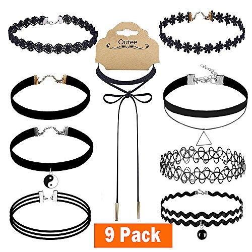 Outee 9 Pcs Black Choker Necklace Set Velvet