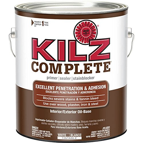 KILZ Complete High-Adhesion and Penetration Interior/Exterior Oil-Based Primer/Sealer, White, 1-gallon