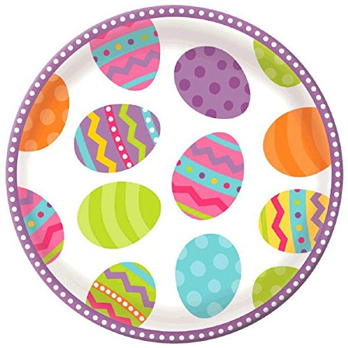 Amscan Egg-Stra Special Easter Eggstravaganza Round Platter Party Serve Ware (Pack Of 1), Multicolor, 13 (Devil Egg Container)